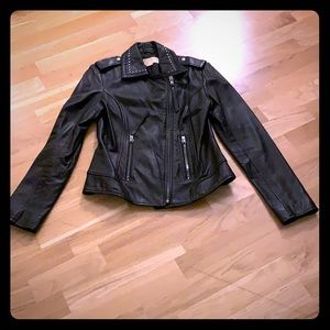 Michael Kors studded leather motorcycle jacket S